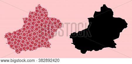 Vector Sars Virus Mosaic And Solid Map Of Xinjiang Uyghur Region. Map Of Xinjiang Uyghur Region Vect
