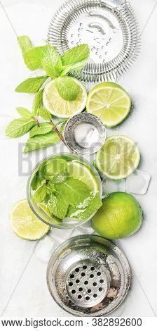 Mojito Cocktail Ingredients, Cocktail In Glass And Bar Tools, Drink Background, Top View, Vertical B