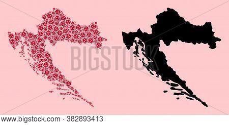 Vector Sars Virus Mosaic And Solid Map Of Croatia. Map Of Croatia Vector Mosaic For Doctor Campaigns