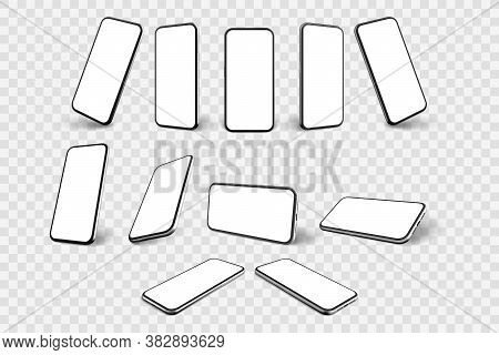 Realistic Smartphone Mockup. Llustration Of Realism Style Drawn Cellphone Frame With Blank Display T