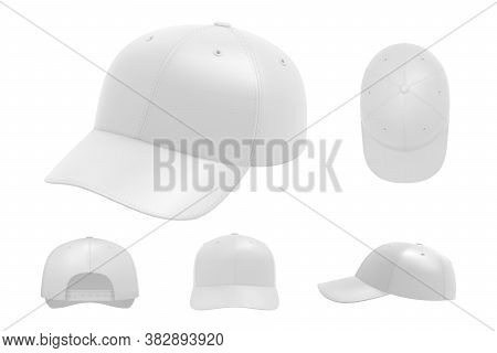 White Cap Mockup Set. Illustration Of Realism Style Drawn Sport Baseball Headwear Template From Fron
