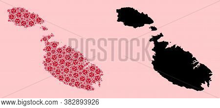 Vector Flu Virus Mosaic And Solid Map Of Malta. Map Of Malta Vector Mosaic For Outbreak Campaigns An
