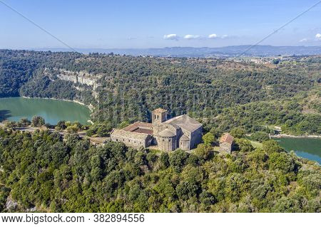 Aerial View Of A Benedictine Monastery Of Sant Pere De Casserres On The Ter River.