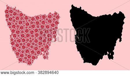 Vector Sars Virus Mosaic And Solid Map Of Tasmania Island. Map Of Tasmania Island Vector Mosaic For