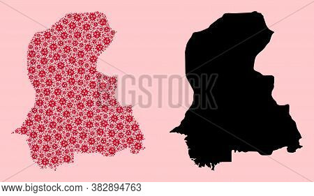 Vector Viral Mosaic And Solid Map Of Sindh Province. Map Of Sindh Province Vector Mosaic For Doctor