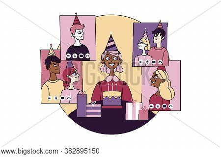 Coronavirus, Quarantine, Celebration, Friendship, Birthday, Online Concept. Young African American W