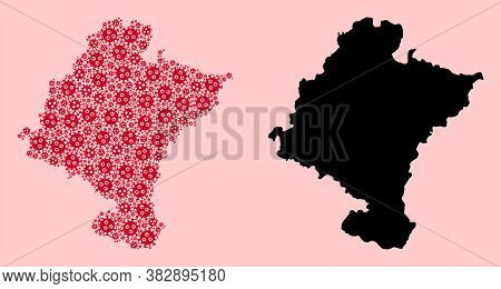 Vector Flu Virus Mosaic And Solid Map Of Navarra Province. Map Of Navarra Province Vector Mosaic For