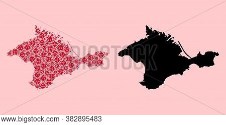 Vector Infection Mosaic And Solid Map Of Crimea. Map Of Crimea Vector Mosaic For Geographic Campaign
