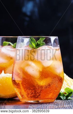 Italian Cocktail With Aperitif, Ice And Orange, Selective Focus