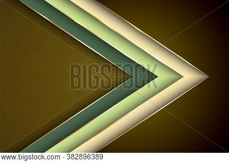 Polygonal Arrow With Gold Triangle Edge Lines Banner Vector Design. Premium Banner Background Templa