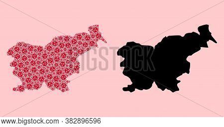 Vector Covid-2019 Virus Mosaic And Solid Map Of Slovenia. Map Of Slovenia Vector Mosaic For Medicine