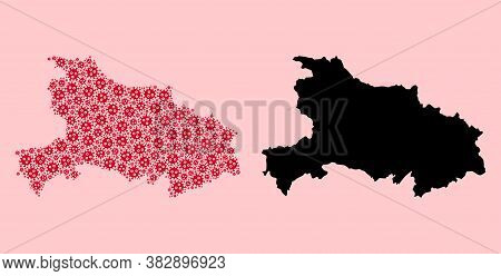 Vector Flu Virus Mosaic And Solid Map Of Hubei Province. Map Of Hubei Province Vector Mosaic For Tre