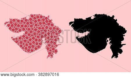 Vector Flu Virus Mosaic And Solid Map Of Gujarat State. Map Of Gujarat State Vector Mosaic For Healt