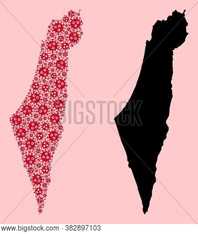 Vector Sars Virus Mosaic And Solid Map Of Israel. Map Of Israel Vector Mosaic For Clinic Campaigns A