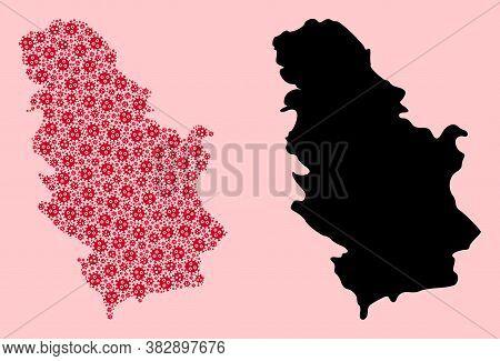 Vector Sars Virus Mosaic And Solid Map Of Serbia. Map Of Serbia Vector Mosaic For Medicine Campaigns