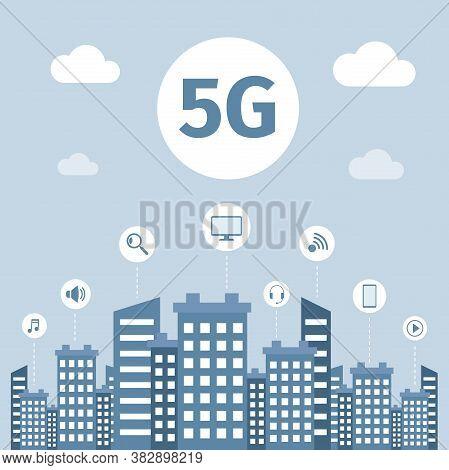 5g Wireless Internet Technology Vector Flat Banner Concept. Smart City Infrastructure, High Speed Co