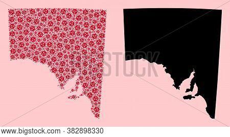 Vector Sars Virus Mosaic And Solid Map Of South Australia. Map Of South Australia Vector Mosaic For