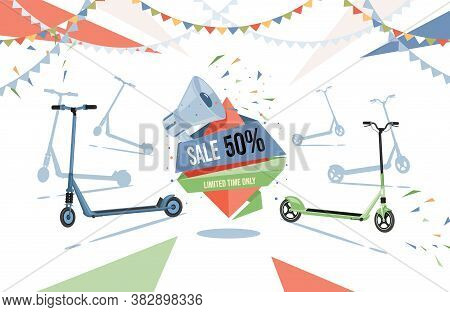 Sale In Electric Scooters Shop Vector Flat Flyer Design. Modern Eco Friendly City Transport Illustra