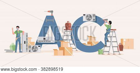 Air Conditioner Installation Vector Flat Banner Template. Young Specialists Work With Equipment To R