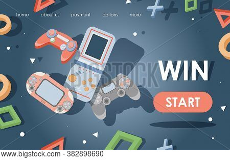 Video Games Landing Page Template. Game Consoles, Game Controllers Vector Flat Illustration. Modern