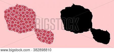 Vector Sars Virus Mosaic And Solid Map Of Tahiti Island. Map Of Tahiti Island Vector Mosaic For Isol