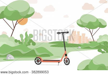 Red Electric Scooter In Urban Park Vector Flat Illustration. Scooter, Modern Personal Transport In A