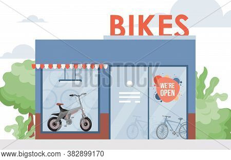 Bike Shop Vector Flat Illustration. Bicycle Store With A Modern Bike In The Window. Eco Friendly Per