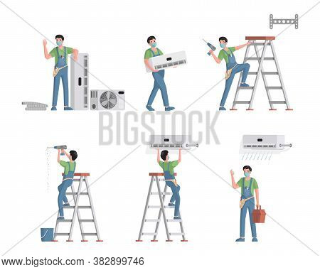 Set Of Air Conditioners Repair And Installation Service Workers. Young Male Characters Installing, R
