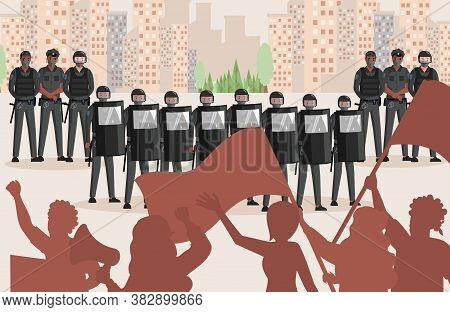 Police Officers In Uniform Against Protesting People Vector Flat Illustration. People Holding Flags