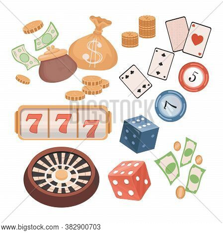 Casino Items Vector Flat Illustration Isolated In White Background. Roulette, Golden Coins, Paper Mo