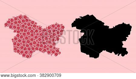 Vector Covid-2019 Virus Mosaic And Solid Map Of Jammu And Kashmir State. Map Of Jammu And Kashmir St