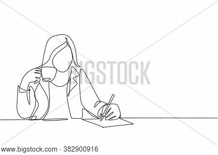 One Single Line Drawing Of Young Businesswoman Writing A Business Idea Draft While Holding A Cup Cof