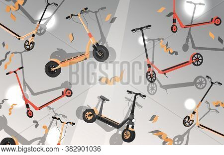 Bright Vector Flat Banner With Red And Yellow Electric Scooters. Eco Friendly Modern City Transport.