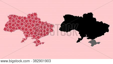 Vector Outbreak Mosaic And Solid Map Of Ukraine. Map Of Ukraine Vector Mosaic For Quarantine Campaig