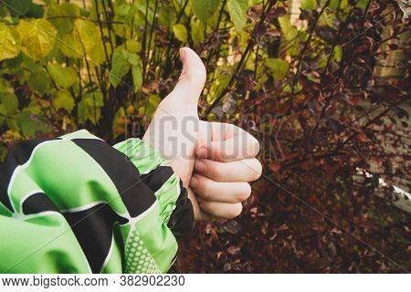 The Man Held Up His Thumb. Background Of Leaves. Autumn. Sign Great