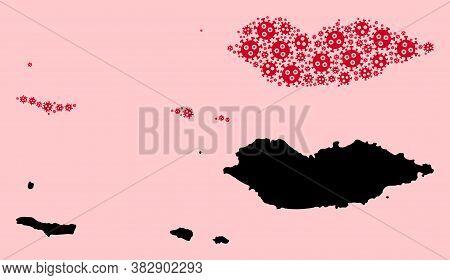 Vector Sars Virus Mosaic And Solid Map Of Socotra Archipelago. Map Of Socotra Archipelago Vector Mos