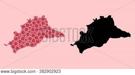 Vector Covid-2019 Virus Mosaic And Solid Map Of Malaga Province. Map Of Malaga Province Vector Mosai