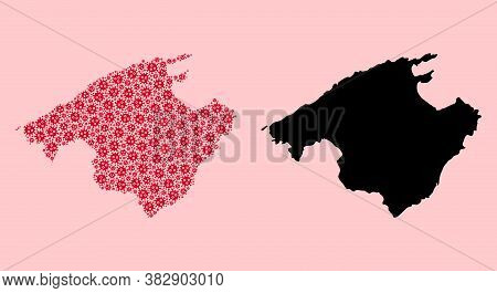 Vector Virus Mosaic And Solid Map Of Majorca. Map Of Majorca Vector Mosaic For Clinic Campaigns And