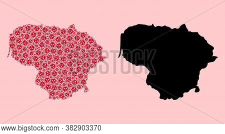 Vector Flu Virus Mosaic And Solid Map Of Lithuania. Map Of Lithuania Vector Mosaic For Clinic Campai