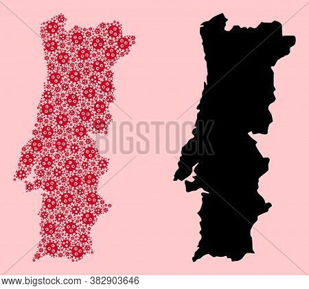 Vector Pandemic Virus Mosaic And Solid Map Of Portugal. Map Of Portugal Vector Mosaic For Doctor Cam