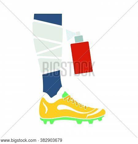 Soccer Bandaged Leg With Aerosol Anesthetic Icon. Flat Color Design. Vector Illustration.