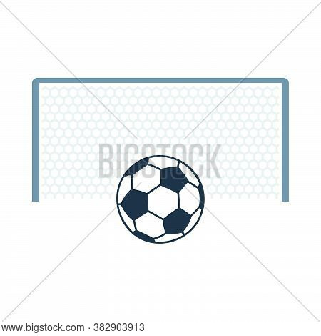 Soccer Gate With Ball On Penalty Point Icon. Flat Color Design. Vector Illustration.