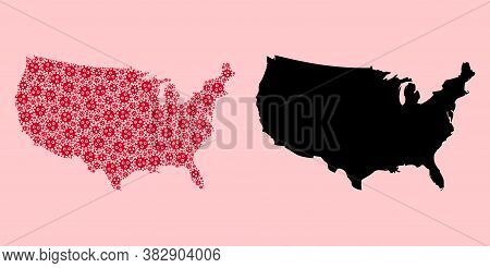 Vector Pandemic Virus Mosaic And Solid Map Of Usa. Map Of Usa Vector Mosaic For Geographic Campaigns