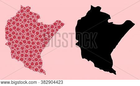 Vector Pandemic Virus Mosaic And Solid Map Of Podkarpackie Province. Map Of Podkarpackie Province Ve
