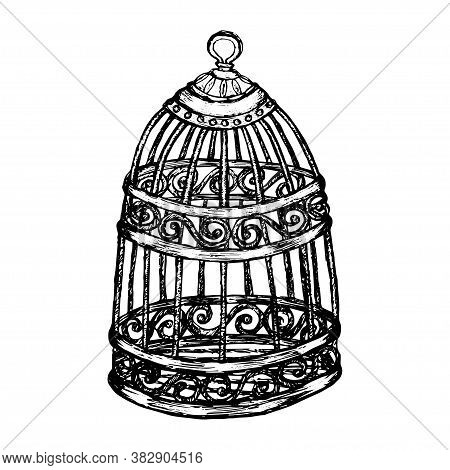 Sketch Cage In Vintage Style Black Outline Isolated On White Background. Stock Vector Illustration F