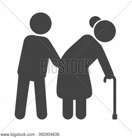 Helping The Elderly Black Icon, Nursing Service