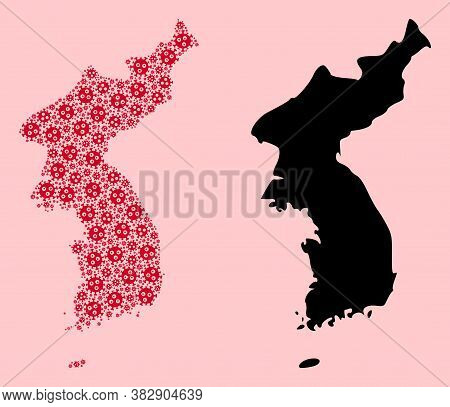 Vector Pandemic Virus Mosaic And Solid Map Of Korea. Map Of Korea Vector Mosaic For Health Care Camp