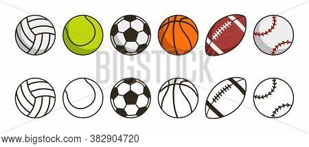 Sport Ball Set. Game Balls Icons. Volleyball, Tennis, Soccer, Basketball, American Football Or Rugby