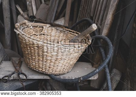 Korean Old Traditional Rattan Basket At The Garage