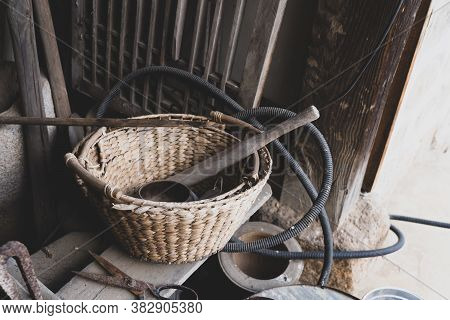 Korean Traditional Rattan Basket With Old Stone House Ware